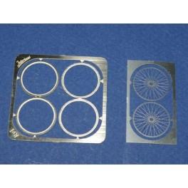 Set of 2 spoked wheels 1/43 car