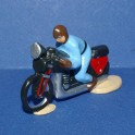 Motorbike blue following the cycling races