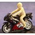 Motorbike and rider without helmet - Unpainted -Scale 1/43