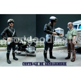 French Gendarme 2 Bikers from the 60's to 80's and 1 man - Unpainted -Scale 1/43