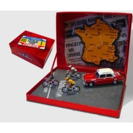 Tdf1967 box with Peugeot 404 & cyclists